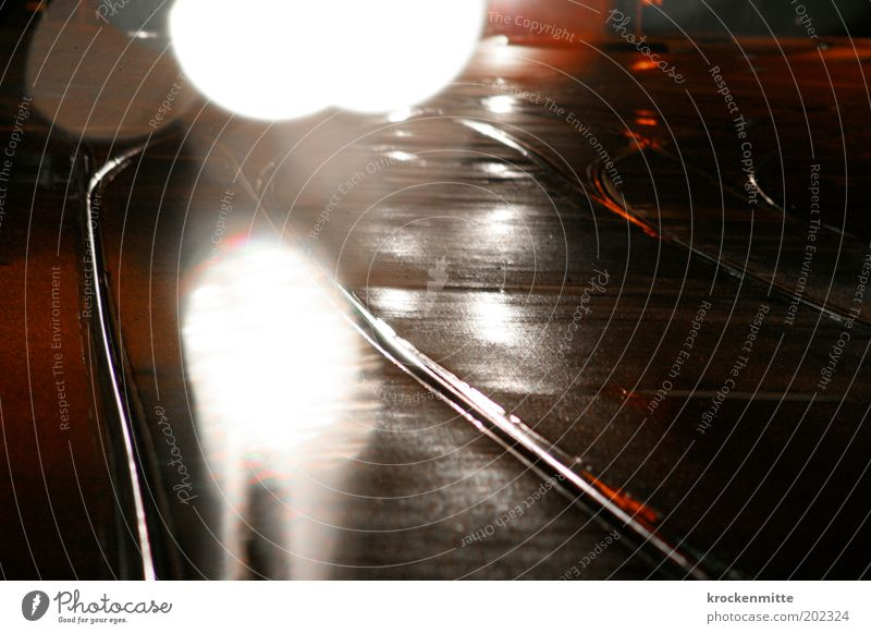 White Red Street Gray Glittering Wet Transport Circle Driving Point Railroad tracks Fatigue Traffic infrastructure Passenger traffic Road traffic Tram