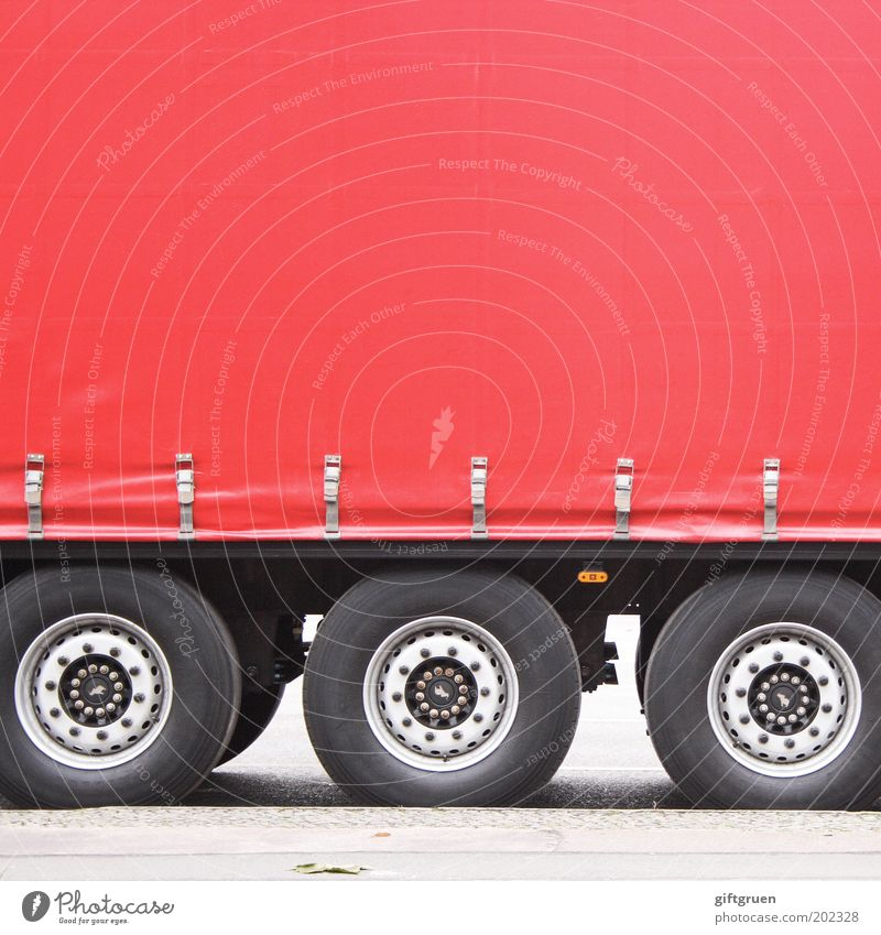Red Street Work and employment Transport Large Logistics Truck Services Wheel Company Economy Vehicle Parking Tire Trade Workplace