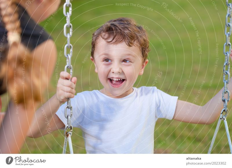happy brother and sister playing on the playground Human being Woman Child Vacation & Travel Summer Relaxation Joy Face Adults Lifestyle Sports Boy (child)