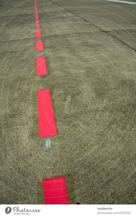 Airport Trajectory Airfield Runway Line Red Signs and labeling Lane markings Orientation Lanes & trails Road marking Direct Right ahead Deserted Center line