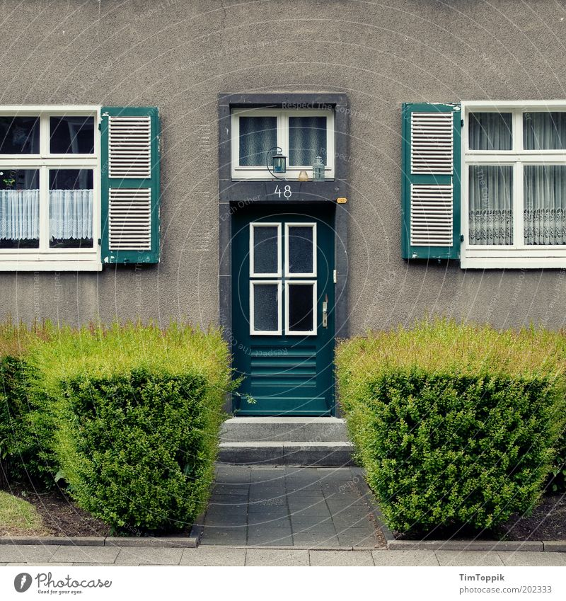 Green House (Residential Structure) Window Gray Architecture Door Facade Stairs Arrangement Gloomy Living or residing Lantern Entrance Curtain Hedge Paving stone