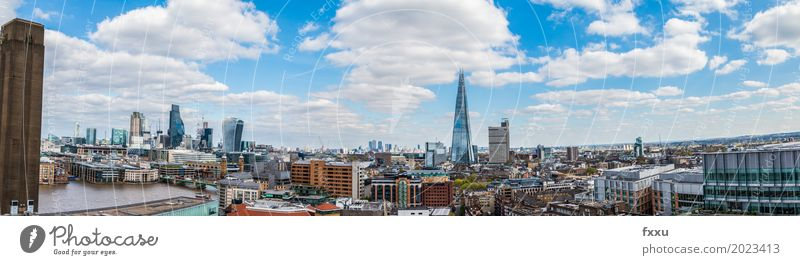 Panorama of London Vacation & Travel Tourism City trip England Europe Town Capital city Downtown Skyline High-rise Bank building Industrial plant Church Bridge