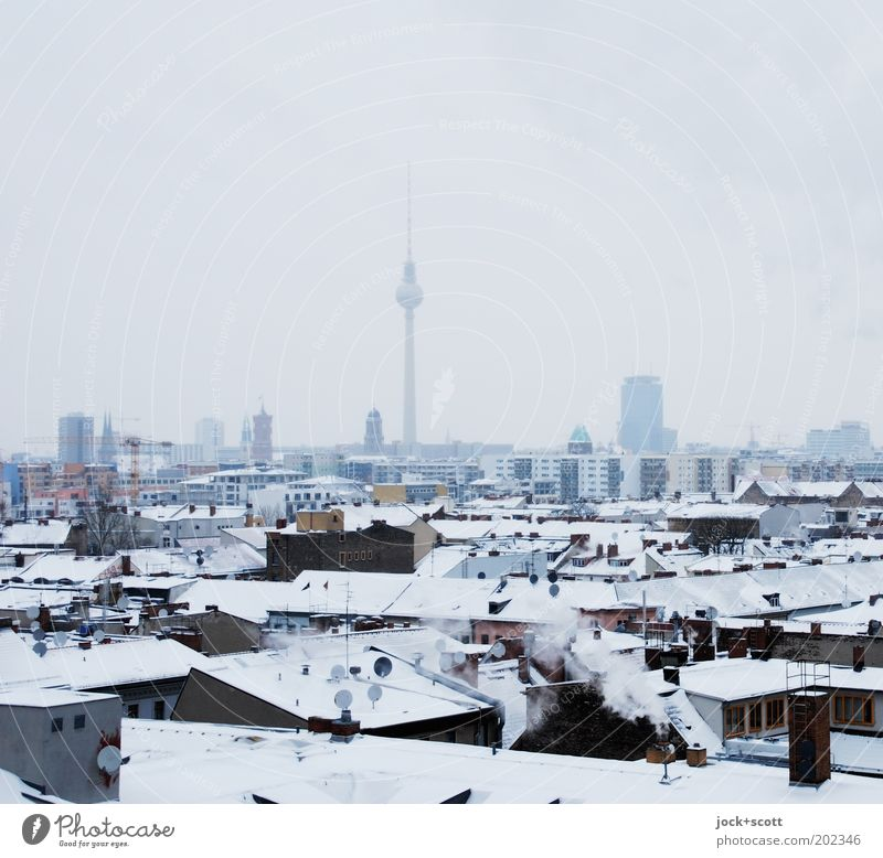 frozen variety Kreuzberg Horizon Winter Bad weather Fog Snow Capital city House (Residential Structure) built Roof Tourist Attraction Landmark Berlin TV Tower