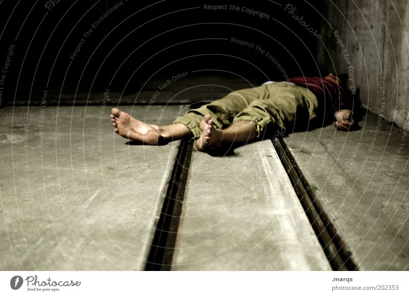 Adults Dark Death Lie Dirty Masculine Poverty Sleep End Railroad tracks Creepy Alcohol-fueled Barefoot Corpse Frustration Human being