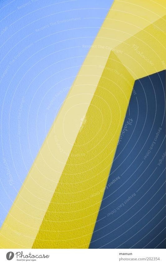 Blue Yellow Colour Wall (building) Wall (barrier) Line Architecture Design Facade Modern Diagonal Building