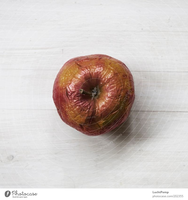 Everything used to be better. Apple Bird's-eye view Old Wrinkles Fruit Stalk Soft Red Yellow Russet Wooden table White Wood grain Apple skin Nutrition Sweet