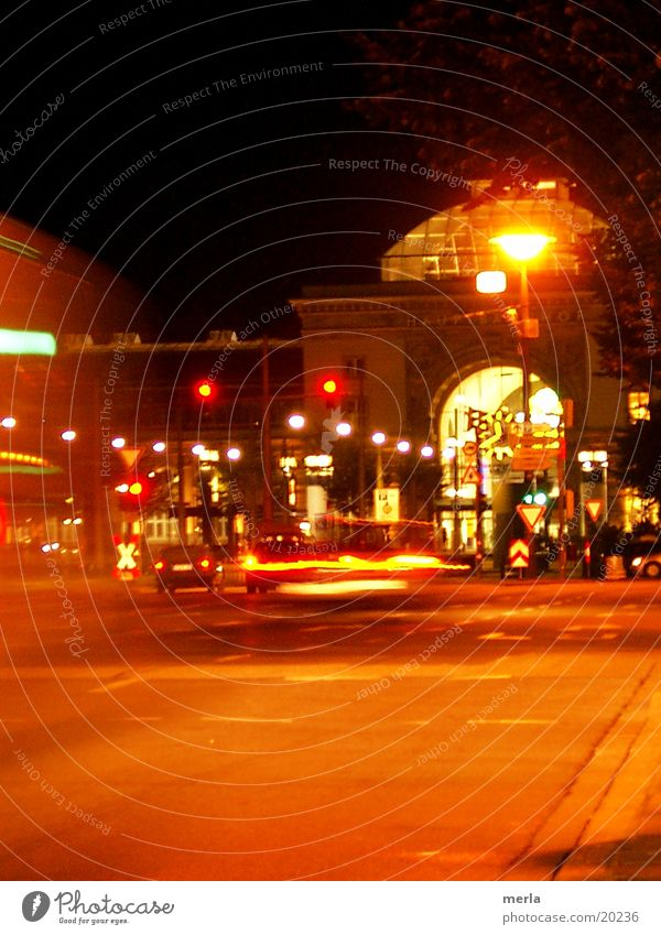Mannheim by night Night Road traffic Signs and labeling Transport Light Lighting night owls Train station Car