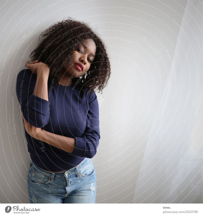 arabella Room Drape Feminine Woman Adults 1 Human being Jeans Sweater Brunette Curl Afro Observe To hold on Looking Stand Beautiful Self-confident Passion