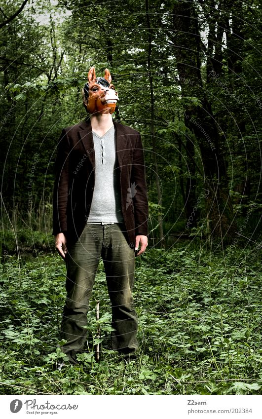 Human being Nature Animal Forest Environment Dark Think Dream Exceptional Masculine Might Threat Horse Mask Creepy Pants