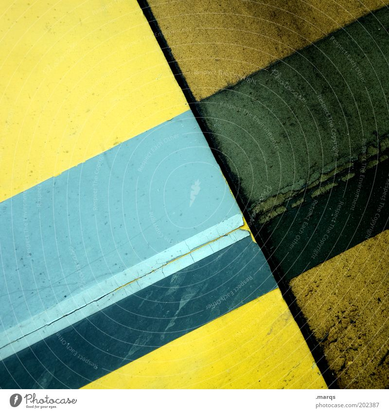 USED Style Design Line Stripe Dirty Simple Blue Yellow Colour Precision Decline Illustration Old Colour photo Detail Structures and shapes Pattern Deserted