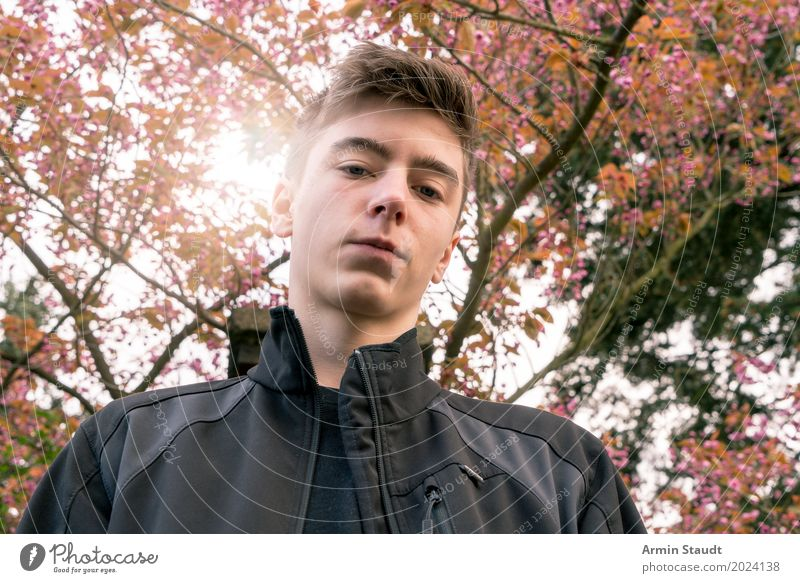 Portrait under tree Lifestyle Style Beautiful Harmonious Calm Garden Human being Masculine Young man Youth (Young adults) 13 - 18 years Nature Landscape Plant