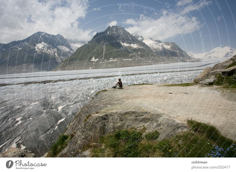 View of the Aletsch Glacier. Summer Mountain Hiking Human being Woman Adults Nature Landscape Clouds Alps Break Aletsch region Aletsch glacier Aletschhorn