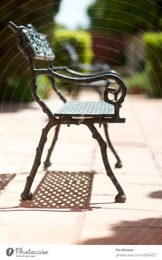 A place in the sun Small Town Deserted Park Terrace Bench Seating Moody Iron Resting point Colour photo Exterior shot Day Sunlight Shallow depth of field Shadow