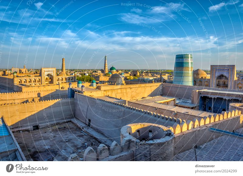 Khiva old town, Uzbekistan Old Blue Town Colour Architecture Religion and faith Style Sand Design Decoration Vantage point Large Skyline Asia Old town Downtown
