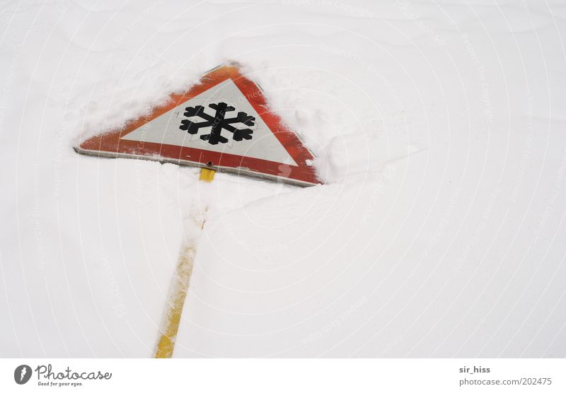 and now to the weather Winter Ice Frost Snow Sign Signs and labeling Signage Warning sign Road sign Cold Yellow Red White Bizarre Climate Warning label