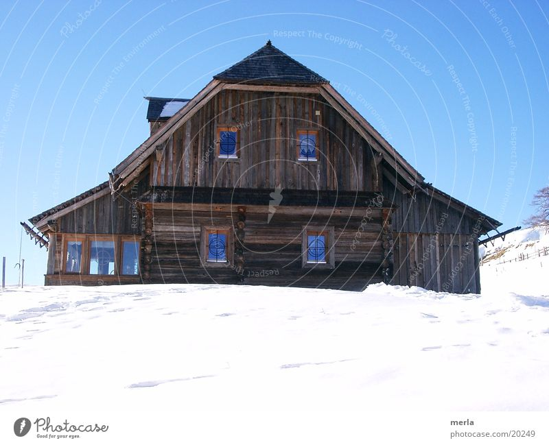 ski hut Lifestyle Joy Happy Well-being Vacation & Travel Tourism Winter Snow Winter vacation Mountain House (Residential Structure) Hill Alps Hut Wooden hut