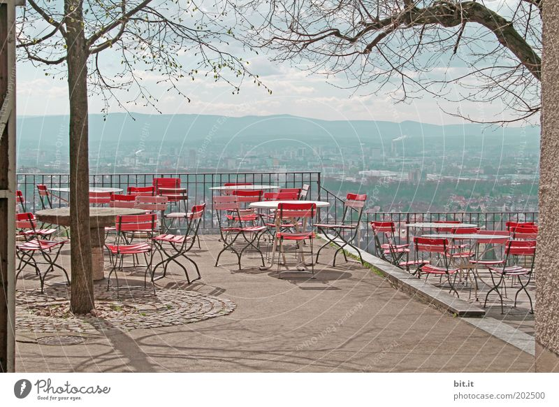 CHAIRS WITH VIEW Trip Far-off places Restaurant Landscape Red Beer garden Closed Terrace Seating Vantage point Beer table Deserted Crisis Off-Season Tourism