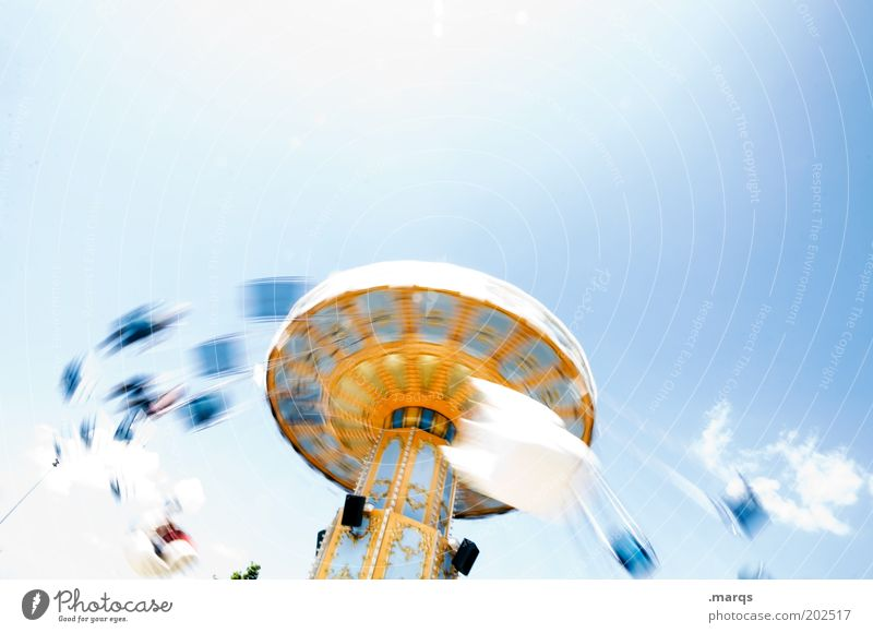 catapult Lifestyle Joy Leisure and hobbies Trip Entertainment Event Fairs & Carnivals Carousel Chairoplane Rotate Exceptional Retro Speed Multicoloured Emotions