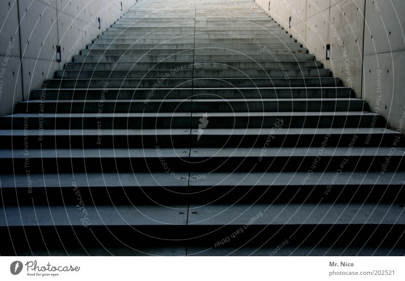 upward Building Architecture Stairs Target Upward Concrete wall Stone Infinity Gray Downward Go up Cold Deserted