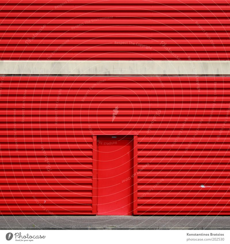 No admission! Building Facade Door Cladding Entrance Way out Front door Simple Large Gray Red Colour Trade Beige Curbside Lanes & trails Warning colour Metal