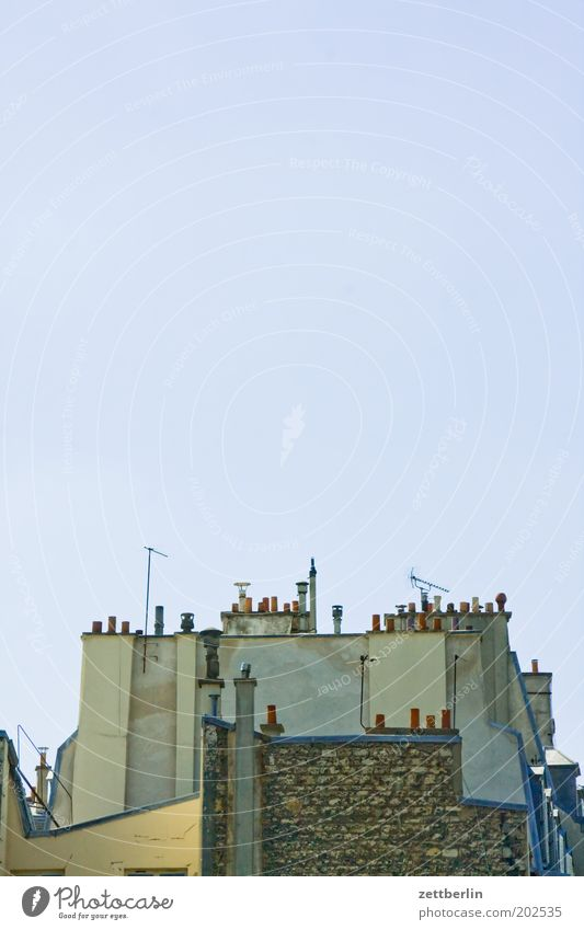 Sky Architecture Tall Corner Roof Level Paris France Beautiful weather Muddled Chimney Antenna Height Cloudless sky