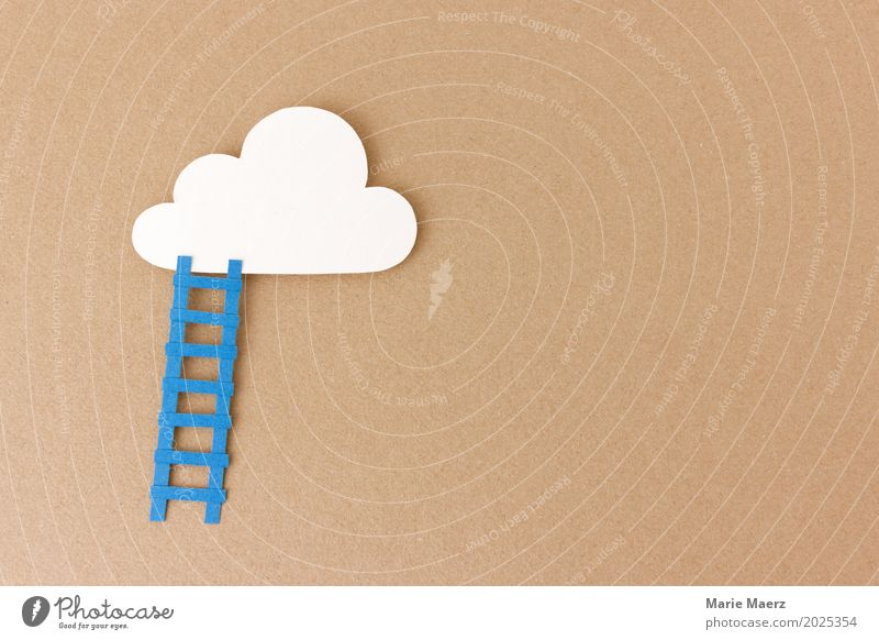 Making dreams come true - Illustration of a ladder leading to the cloud Happy Work and employment Career Success Dream Authentic Positive Brown Brave