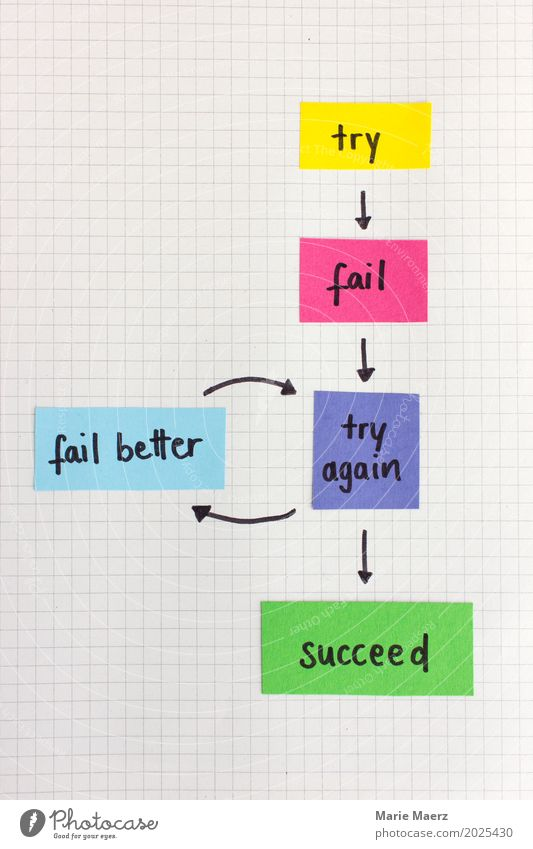 Try again - fail better Study Economy Career Success Science & Research Advancement Future Work and employment Positive Multicoloured Determination Passion