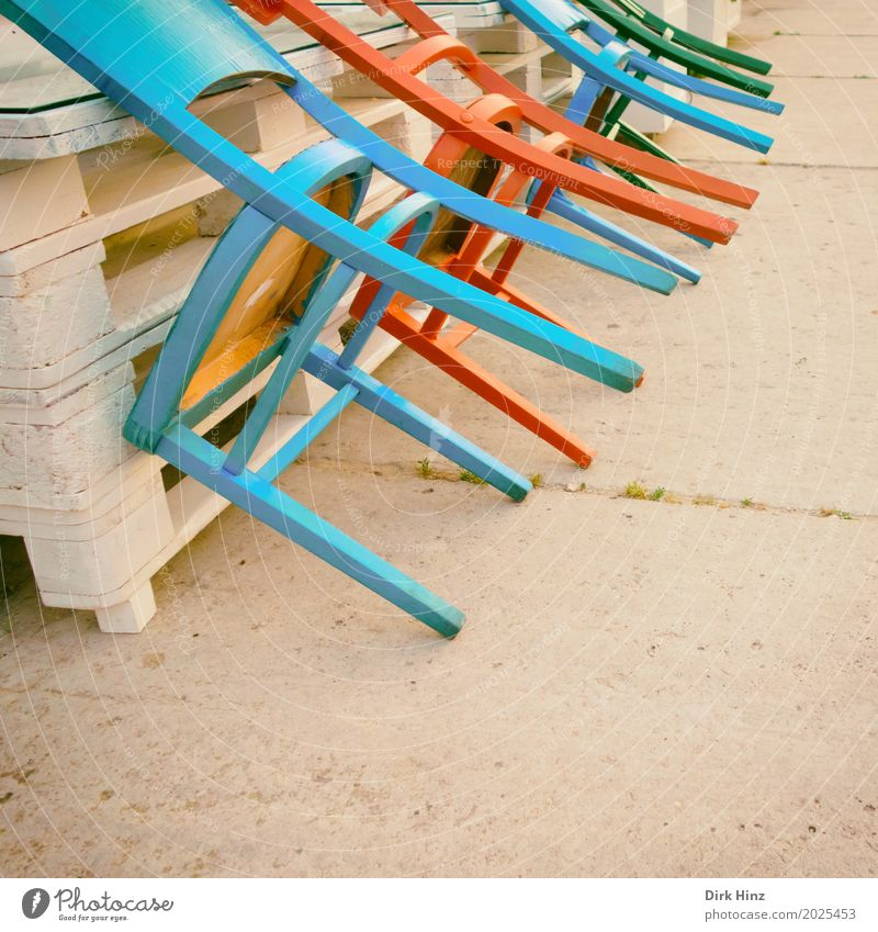 Blue Red Places Closed Chair Gastronomy Restaurant End Café Seating Closing time Tidy up Lounges Palett