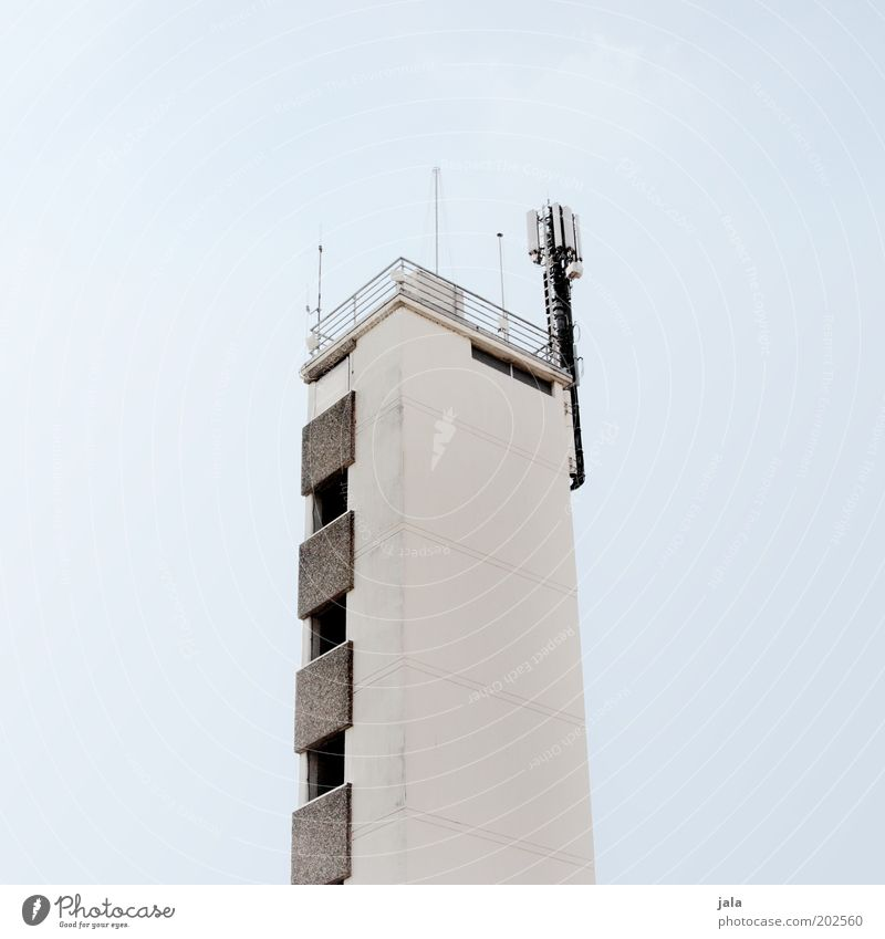Sky White Blue Gray Building Bright Architecture Tall Facade Tower Manmade structures Handrail Antenna Broacaster
