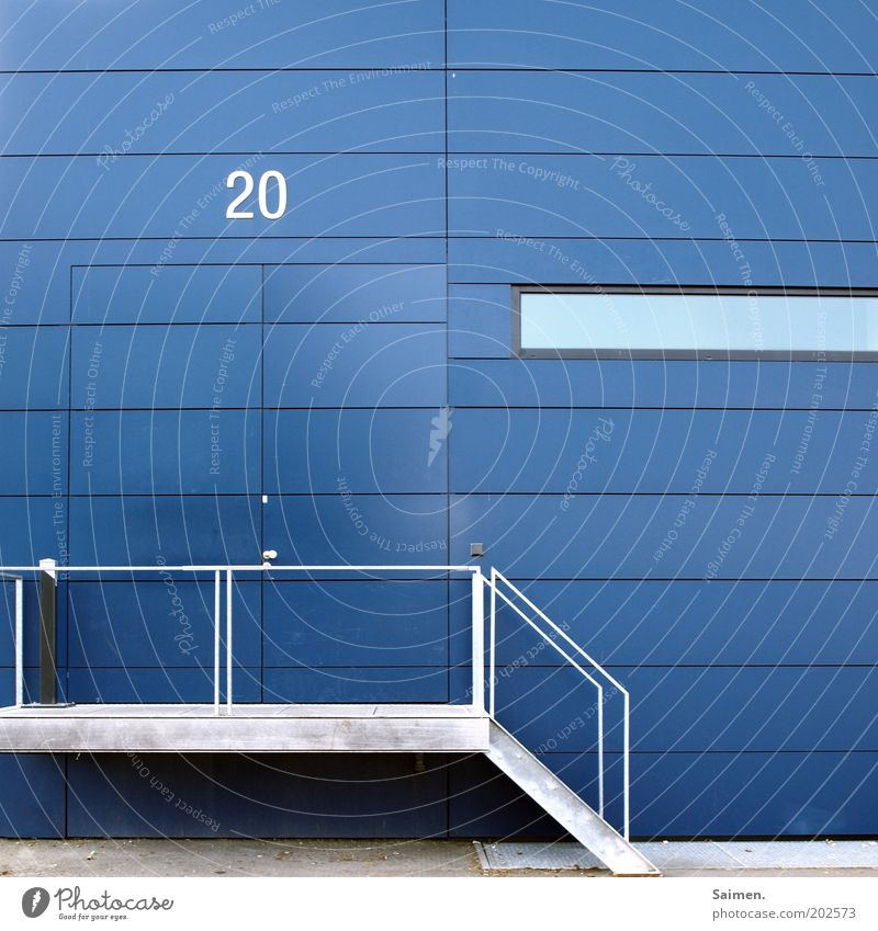 House number 20. Wall (barrier) Wall (building) Facade Sharp-edged Reliability Blue Design Modern Perspective Symmetry Structures and shapes Stairs