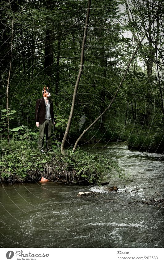 Human being Nature Loneliness Adults Forest Dark Environment Landscape Style Dream Masculine Exceptional Stand River Mask 18 - 30 years