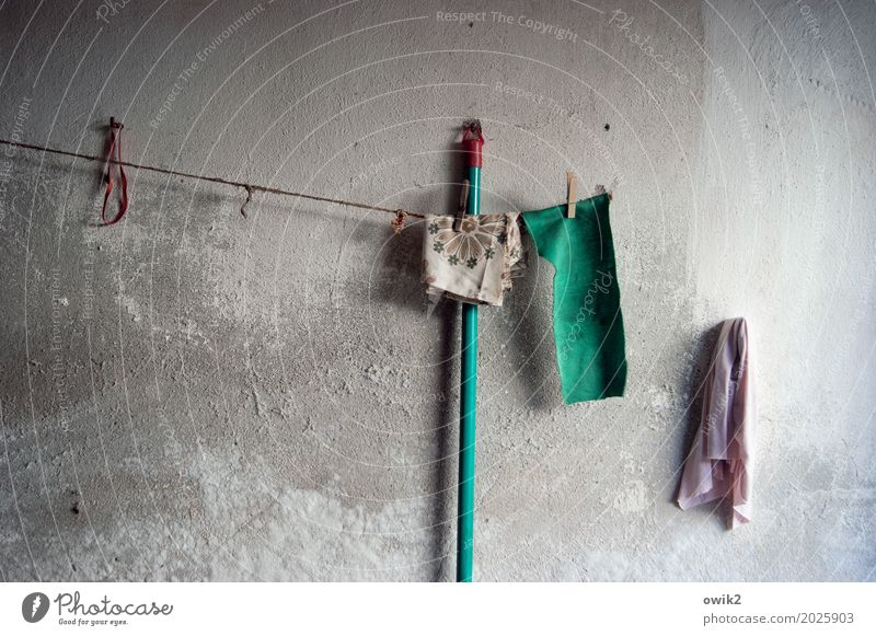 cleaning crew Garage Wall (barrier) Wall (building) Facade Rough Broomstick Floor cloth Clothesline Clothes peg rubber ring Concrete Wood Plastic Hang Wait Old