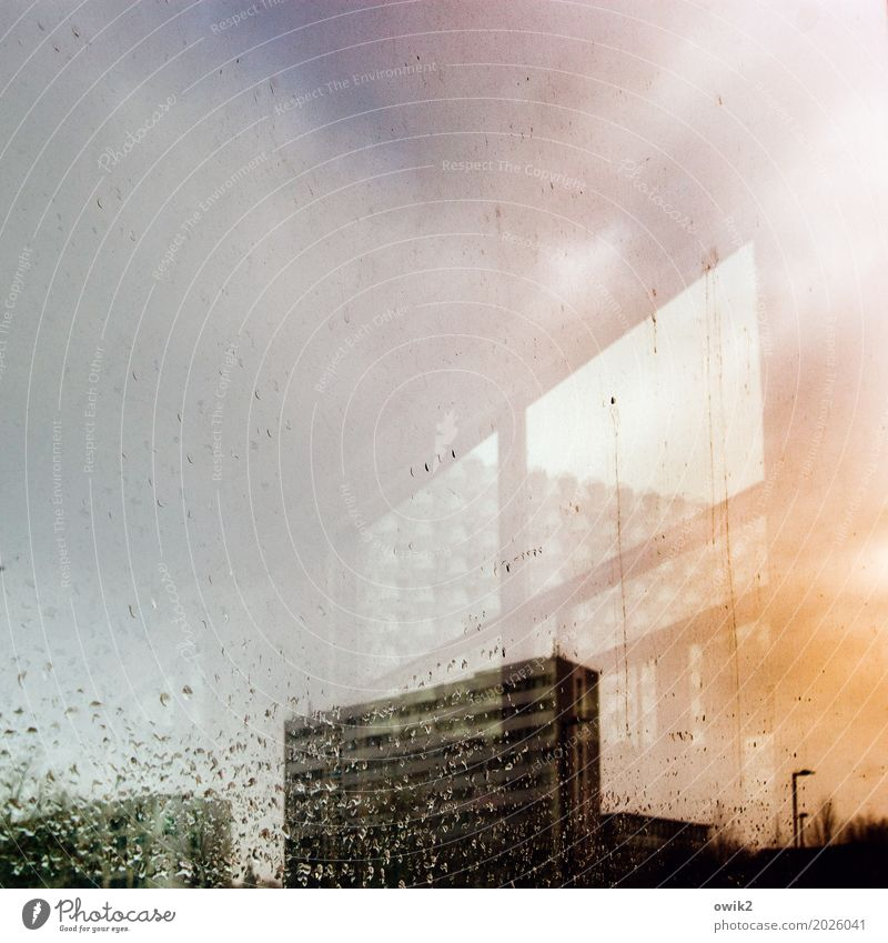 Town Clouds House (Residential Structure) Window Wall (building) Building Wall (barrier) Germany Orange Rain High-rise Gloomy Drops of water Wet Simple