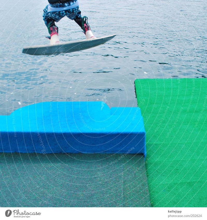 Human being Man Water Joy Sports Life Jump Style Lake Legs Coast Adults Masculine Lifestyle Bottom