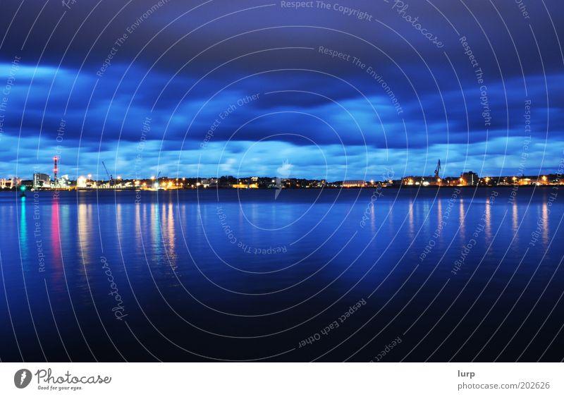 eastern shore Water Dark Reflection Clouds Skyline Harbour Port City Coast Evening Night Light Blue Panorama (Format) Ocean Kiel Night shot Night sky