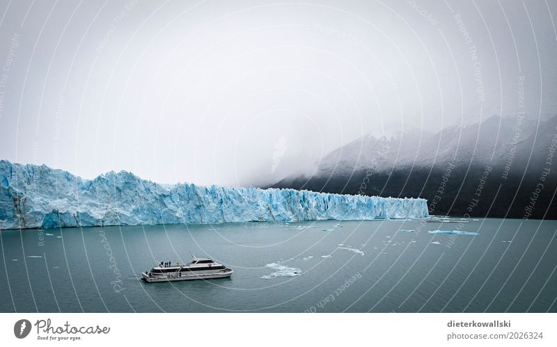 Perito Moreno II Environment Nature Climate change Bad weather Fog Ice Frost Glacier Boating trip Passenger ship Vacation & Travel Cold Travel photography