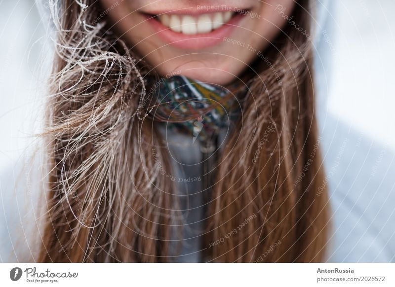 girl smile teeth winter frost Human being Feminine Young woman Youth (Young adults) Woman Adults Hair and hairstyles Lips Teeth 1 18 - 30 years Brunette Smiling