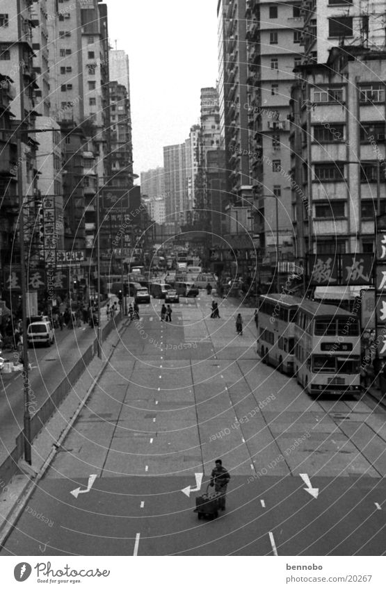 City White Black Street Lanes & trails Transport Asia China Motoring Capital city Pedestrian Crossroads Port City Hongkong Midday Populated