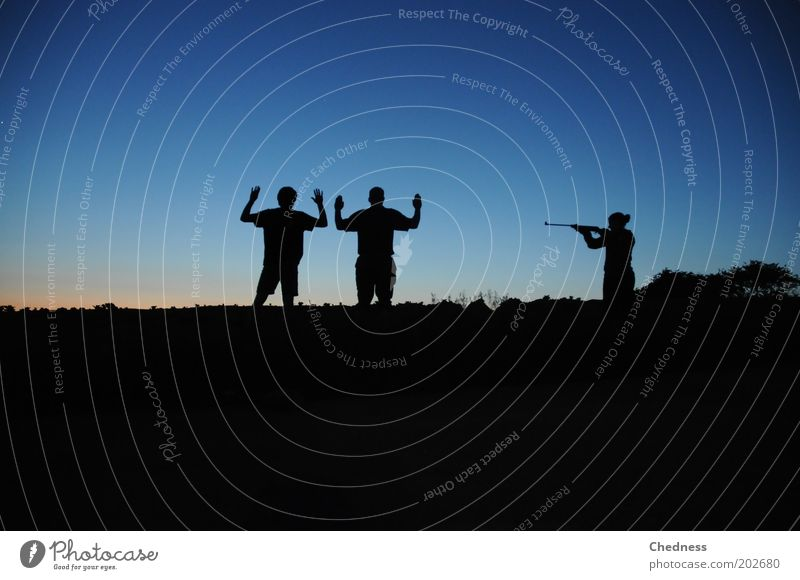 In the Hunter's Crosshairs Hunting Masculine 3 Human being Stage play Nature Landscape Sky Horizon Field Aggression Threat Cool (slang) Power Might Serene