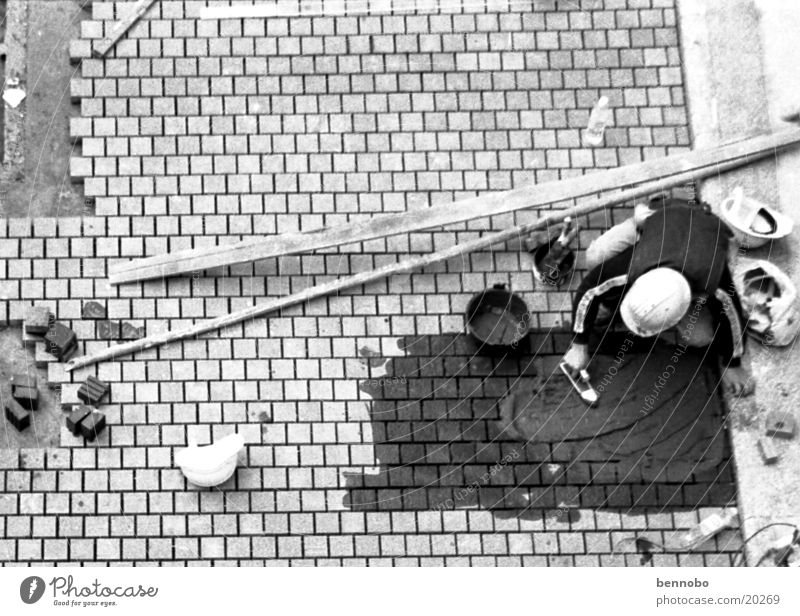 construction worker Hongkong Asia Overpopulated Terrace Black White China Construction worker Cobblestones Black & white photo Structures and shapes