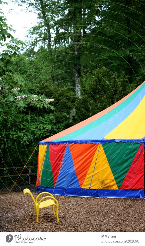 only thereby instead of in the middle Leisure and hobbies Puppet theater Circus Shows Summer Forest Circus tent Multicoloured Bench Colour photo Exterior shot