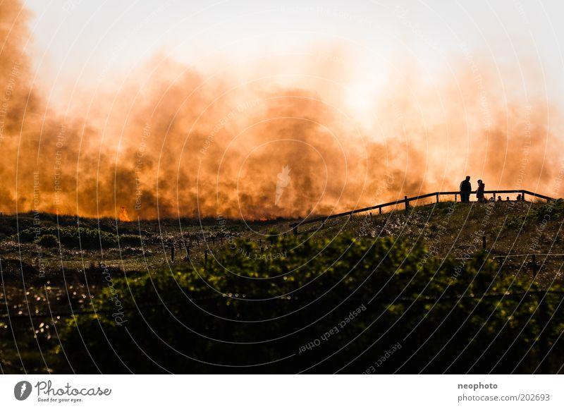 Dark Sand Air Power Blaze Force Fire Dangerous Threat Creepy Smoke Audience Beach dune Fight North Sea Tourist