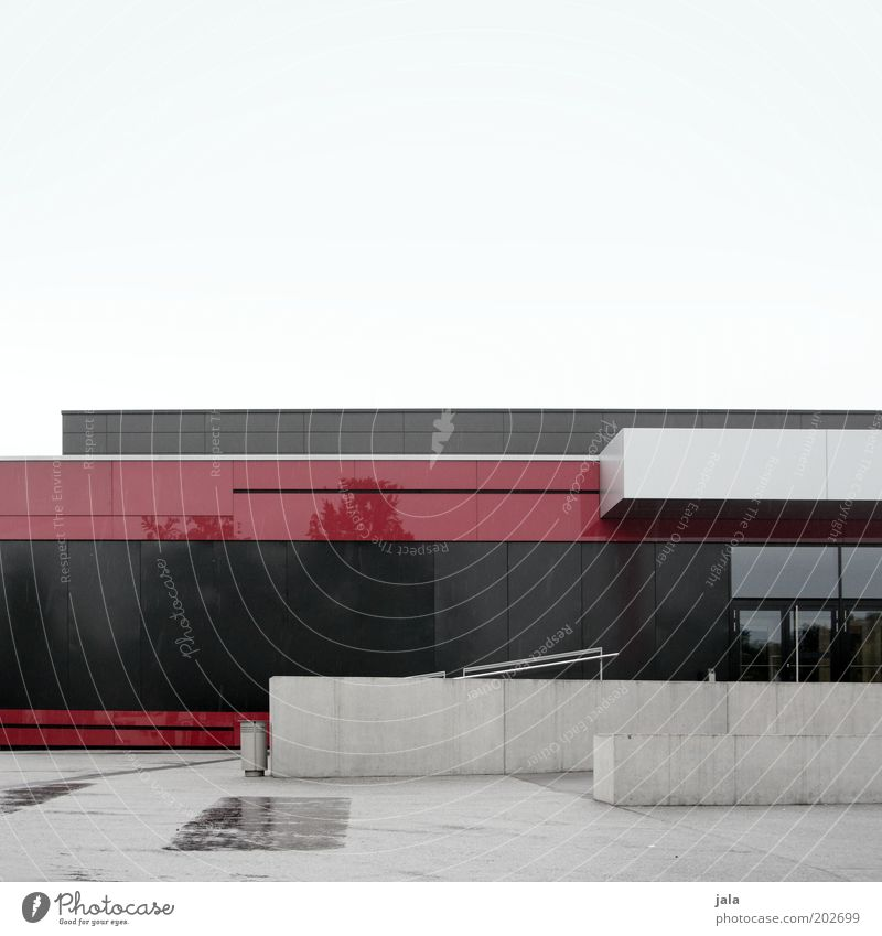 Red Black House (Residential Structure) Wall (building) Architecture Gray Building Wall (barrier) Door Facade Places Stairs Large Gloomy Manmade structures