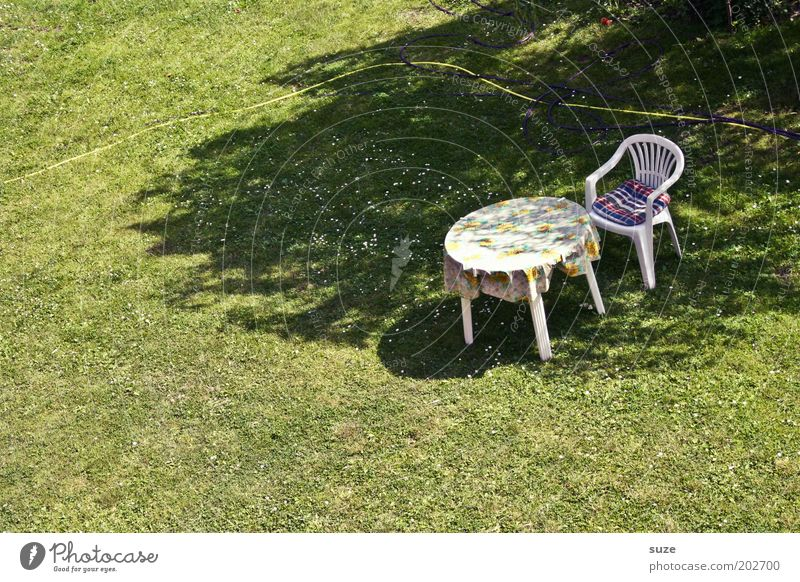 23° in the shade Calm Leisure and hobbies Summer vacation Living or residing Garden Chair Table Retirement Closing time Beautiful weather Meadow Authentic