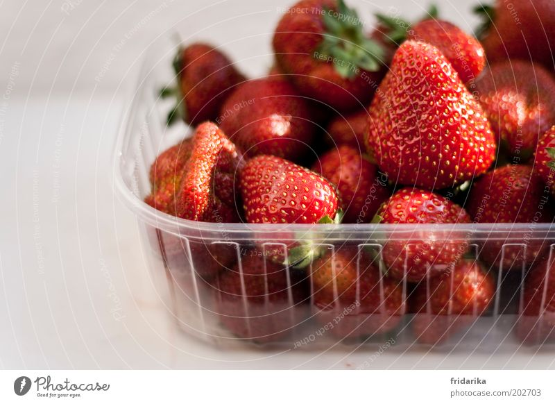 Red Happy Fruit Natural Food Sweet Plastic To enjoy Delicious Organic produce Berries Bowl Plastic packaging Strawberry Anticipation Packaging