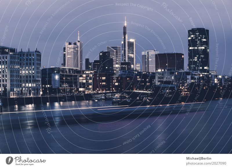 Frankfurt skyline over the Main River River bank Town Skyline High-rise Watercraft Large Financial Industry Trade Long exposure Colour photo Exterior shot