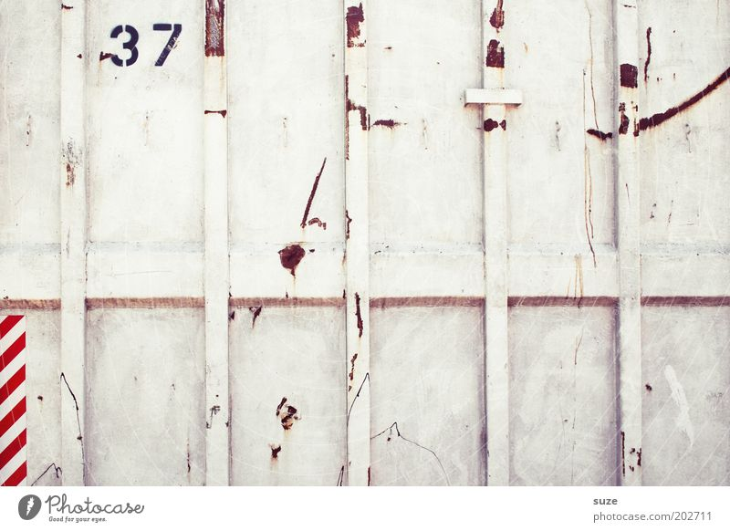Thirty-seven Container Metal Digits and numbers Line Stripe Old Sharp-edged Simple Trashy Gloomy White Arrangement Numbers Industrial Photography 37 Rust