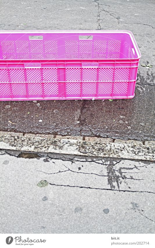 Water Street Gray Pink Wet Concrete Arrangement Places Asphalt Box Trashy Sidewalk Expressionless Crate Pavement Puddle