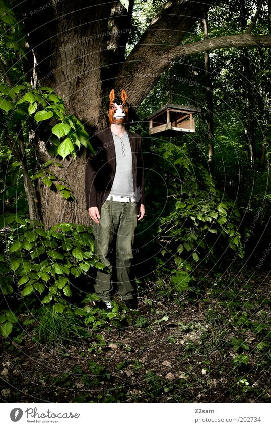 Human being Nature Tree Adults Forest Dark Power Masculine Crazy Stand Horse Bushes Mask 18 - 30 years Creepy Whimsical