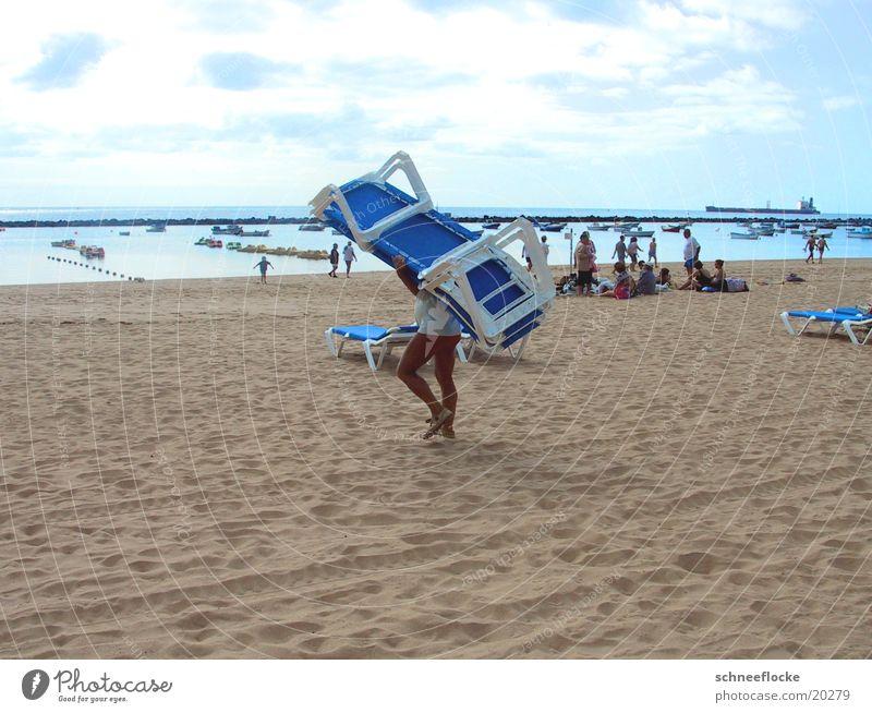 On the beach Beach Deckchair Vacation & Travel Tenerife Human being Sand